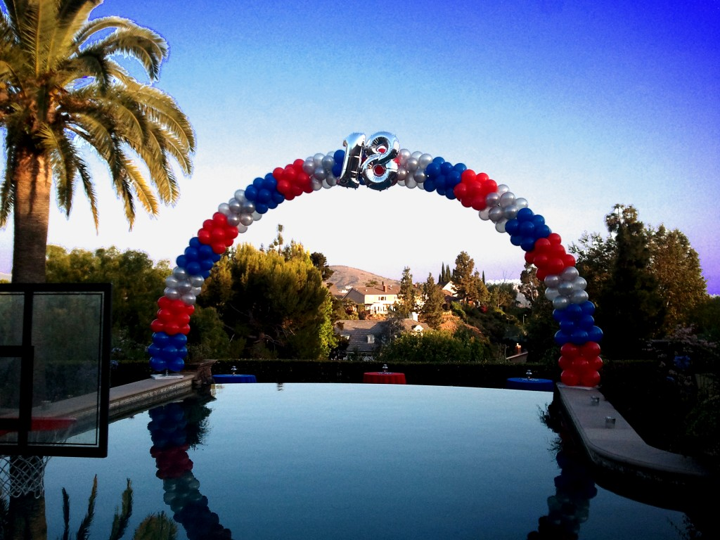 18th birthday frame arch over pool balloons party for Balloon arch frame kit party balloons decoration