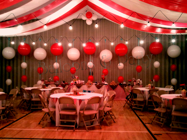 Under the Big Top Balloon Backdrop Circus Themed Wedding View Image