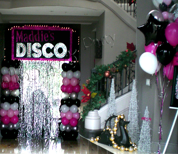 Disco Party Table Decorations Balloons And Streamer Disco Party