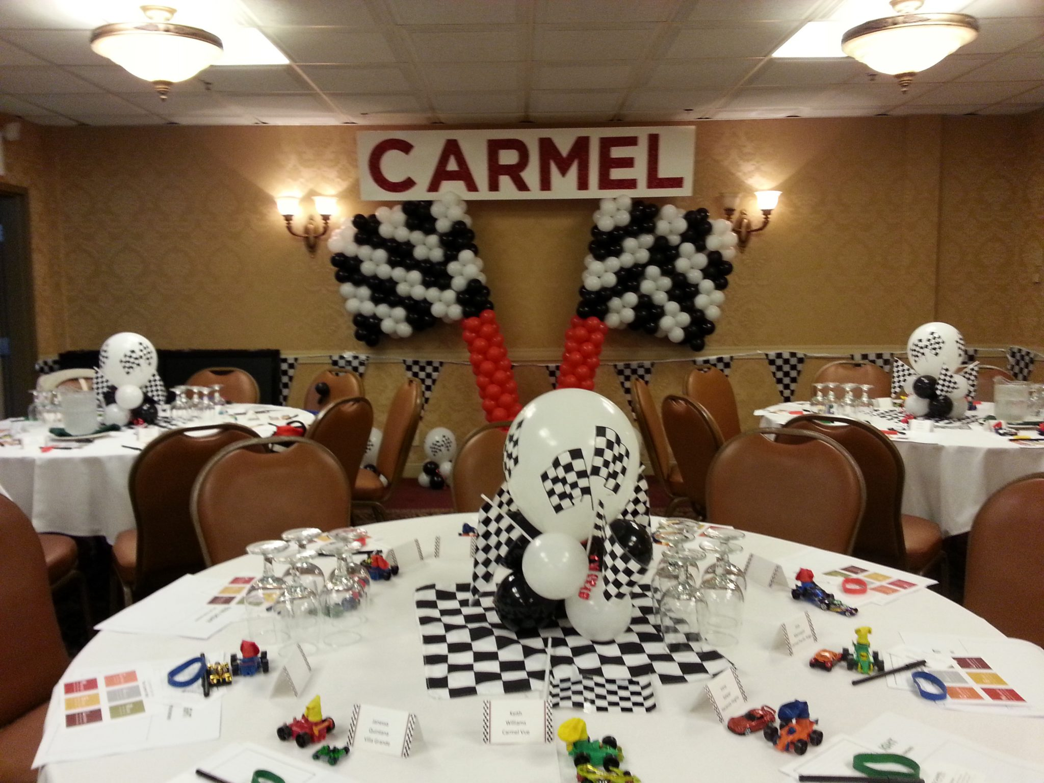 Racing Theme Balloon Centerpieces And Checkered Flag