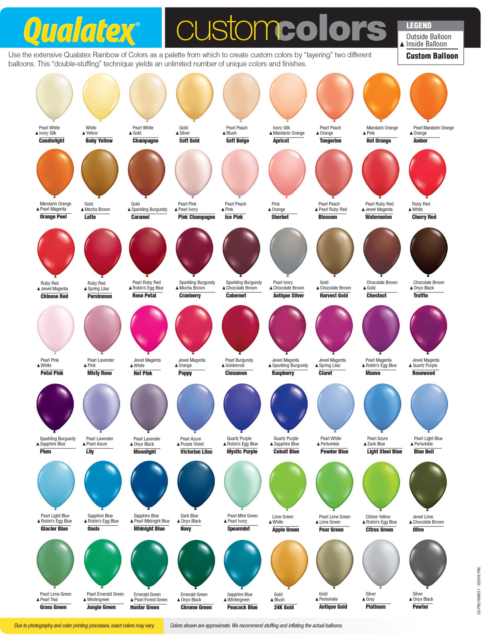 Latex Balloon Custom Color Chart Balloons Party Decorations