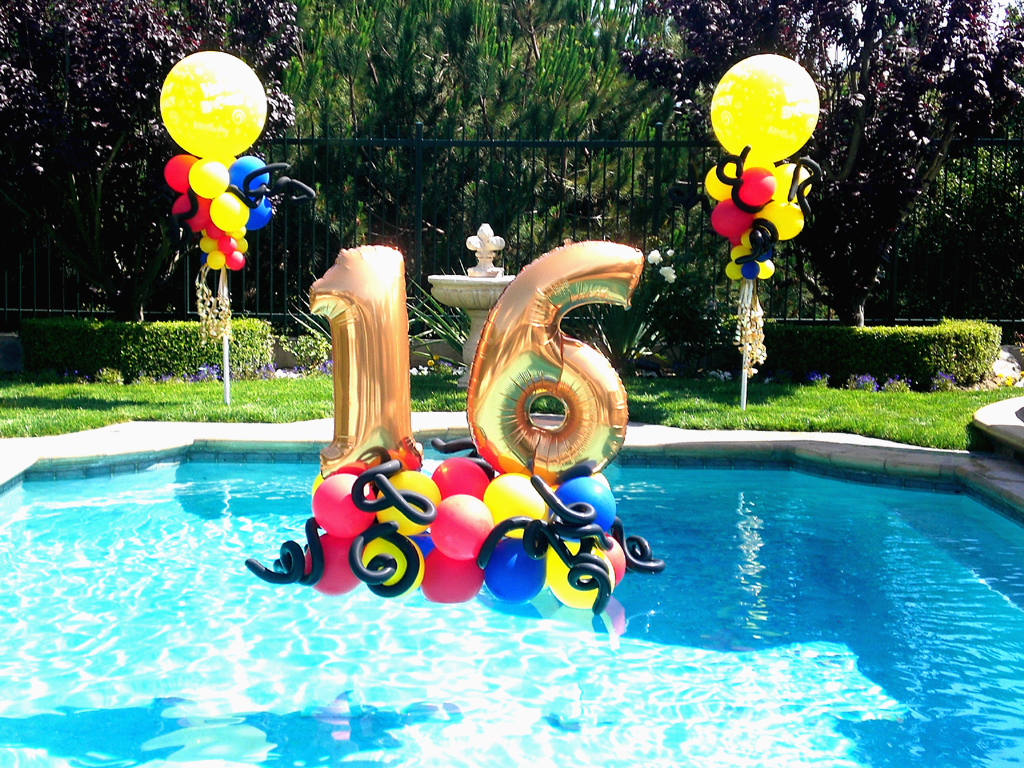 Sweet 16 pool party themes images for Pool decorations