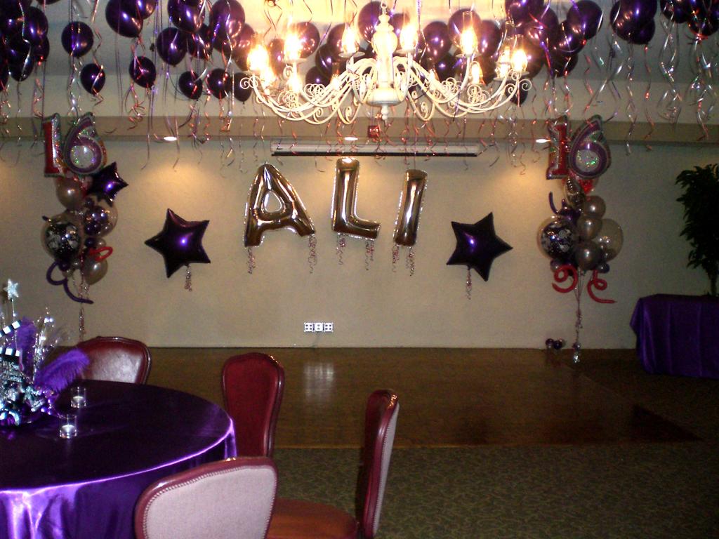 Balloon Name Arch Ali Sweet 16 Birthday