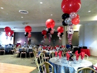 Balloon Centerpieces Red Festoon with Table Numbers