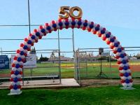 Red White Blue Balloon Arch 50 Anniversary