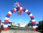 Patriotic Balloon Arch with Pompoms